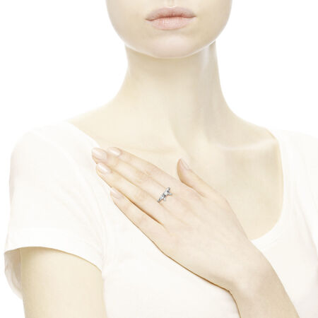 Delicate Sentiments Ring, White Pearl & Clear CZ