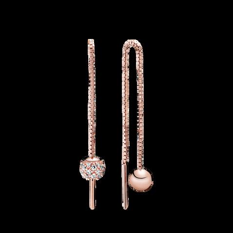Polished & Pavé Bead Dangle Earrings