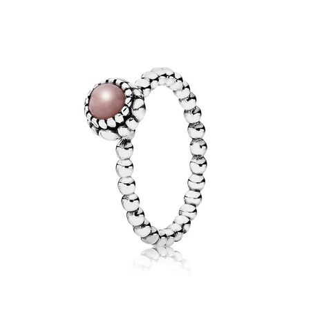Birthday Blooms Ring, October, Pink Opal