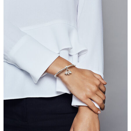 My Little Baby Dangle Charm, Sterling silver, Enamel, White, Cubic Zirconia - PANDORA - #798106CZ