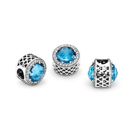 Radiant Hearts Charm, Sky-Blue Crystal & Clear CZ