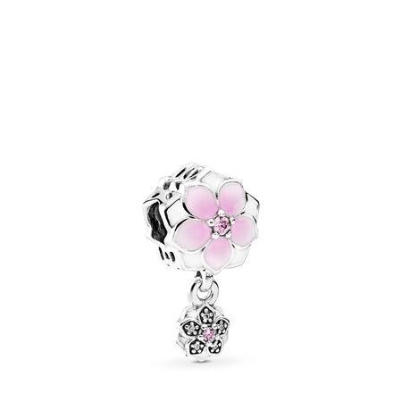 Magnolia Bloom Charm, Pale Cerise Enamel, Pink & Clear CZ, Sterling silver, Enamel, Pink, Cubic Zirconia - PANDORA - #792077PCZ