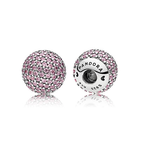 Pavé Open Bangle Caps, Pink CZ