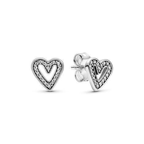Heart sterling silver stud earrings with clear cubic zirconia