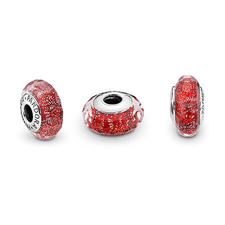Red Shimmer Charm, Murano Glass