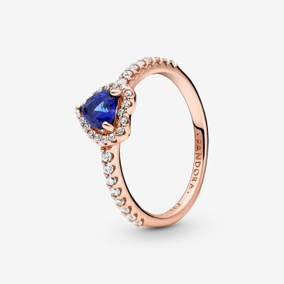 Sparkling Blue Elevated Heart Ring , Rose Gold
