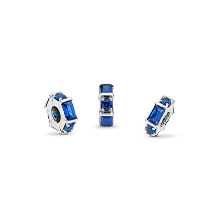 Ice Sculpture Spacer, Blue Crystal, Sterling silver, Blue, Crystal - PANDORA - #797529NSBL