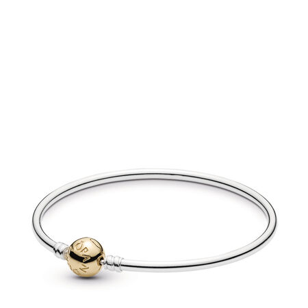 0591a9f75 Silver Bangle Charm Bracelet With 14K Gold Clasp