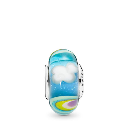 Iridescent Rainbow Charm, Murano Glass
