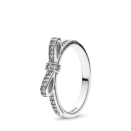 Sparkling Bow Ring, Clear CZ, Sterling silver, Cubic Zirconia - PANDORA - #190906CZ
