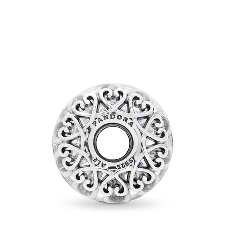 Iridescent White Glass Charm