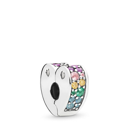 Multi-Colored Arc of Love Clip, Multi-Colored CZ & Crystals, Sterling silver, Silicone, Blue, Mixed stones - PANDORA - #797020NRPMX