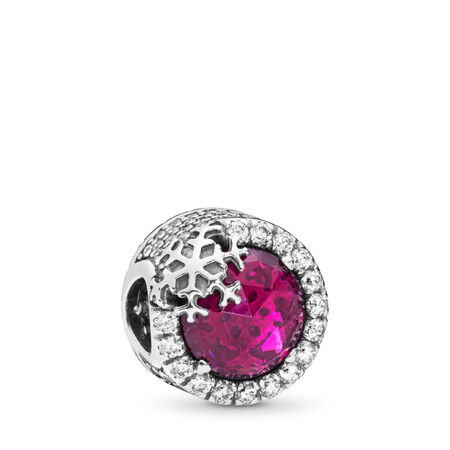 Dazzling Snowflake Charm, Clear CZ & Cerise Crystal, Sterling silver, Red, Mixed stones - PANDORA - #797555NCC
