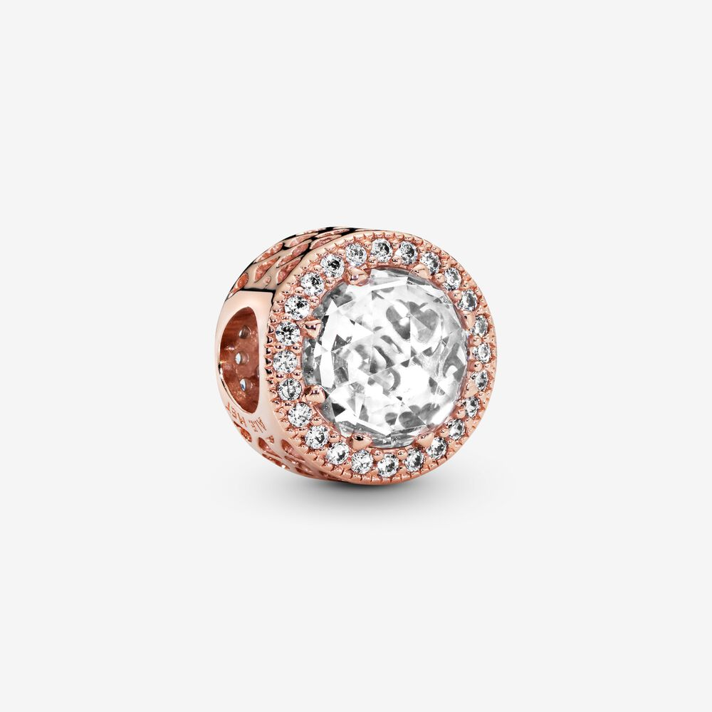 Sparkling Clear Charm Rose Gold Plated Pandora Us