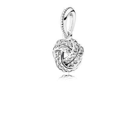 Sparkling Love Knot Pendant, Clear CZ