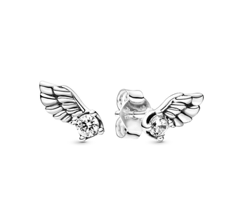 Angel wing sterling silver stud earrings with clear cubic zirconia