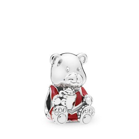 Christmas Bear Charm, Red & White Enamel, Sterling silver, Enamel - PANDORA - #797564ENMX