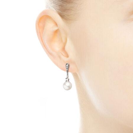 Elegant Beauty Drop Earrings, White Pearl & Clear CZ