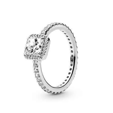 0865dd0d8 Square Sparkle Ring Sterling silver, Cubic Zirconia