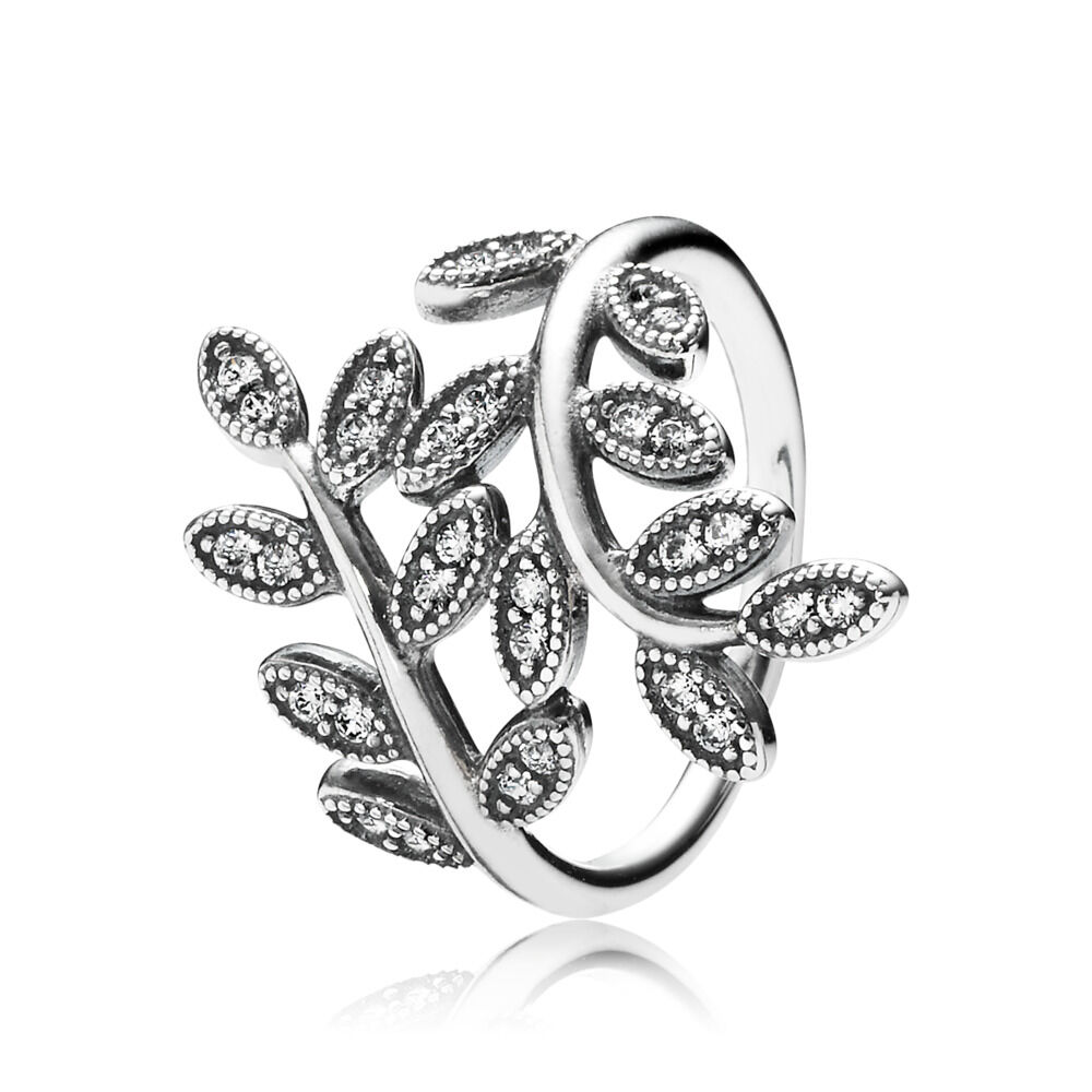 1c52341fe Sparkling Leaves Ring, Clear CZ, Sterling silver, Cubic Zirconia - PANDORA  - #