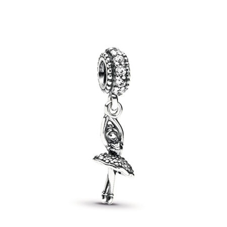 b584c69d6 Ballerina Dangle Charm, Clear CZ Sterling silver, Cubic Zirconia