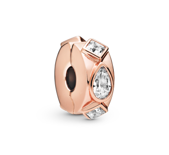 Pandora Rose clip with clear cubic zirconia and silicone grip