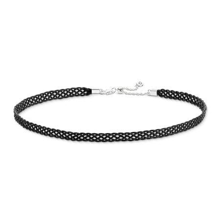Woven Fabric Choker Necklace, Black, Sterling silver, Textile/ natural fibers, Black - PANDORA - #590543CBK