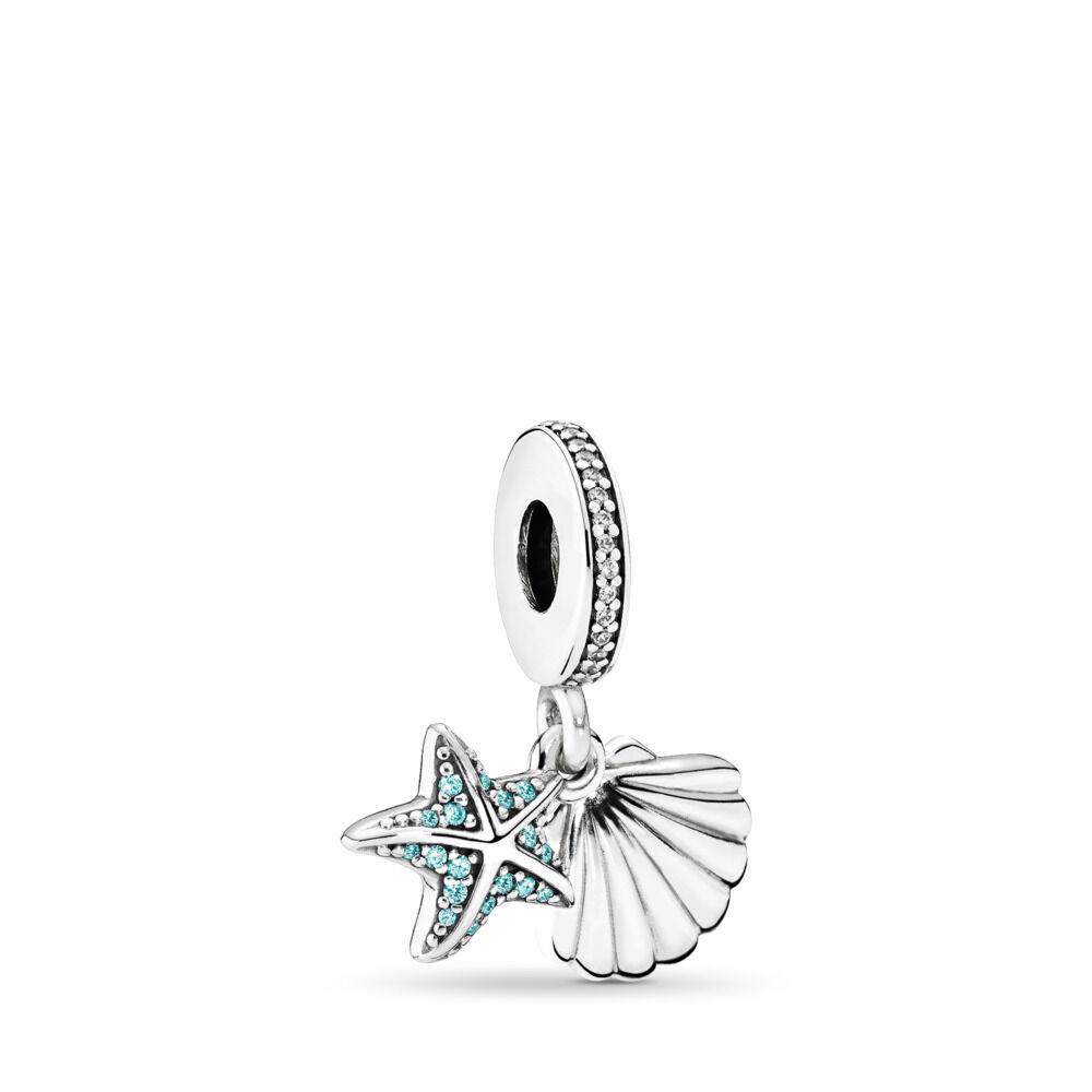 0a0d69812ff9 Estrella y concha de mar tropicales, cz menta escarchada y clara