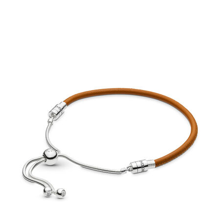 Sliding Golden Tan Leather Bracelet, Clear CZ, Sterling silver, Leather, Brown, Cubic Zirconia - PANDORA - #597225CGT
