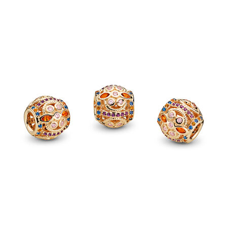 Color Fresco Charm, 14K Gold & Multi-Colored Crystals & Pink CZ