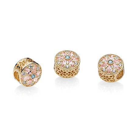 Opulent Floral Charm, 14K Gold, Multi-Colored Crystals & Clear CZ