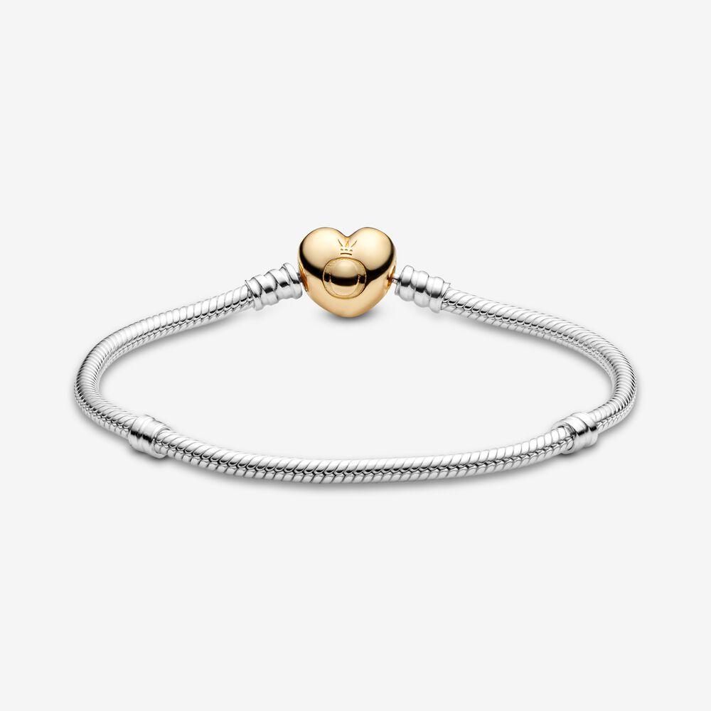 Pandora Moments Heart Clasp Snake Chain Bracelet | Two-tone ...