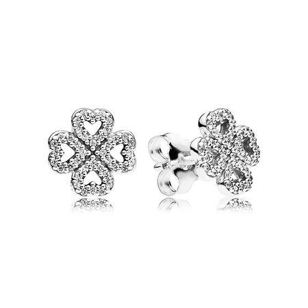 Petals of Love Stud Earrings, Clear CZ