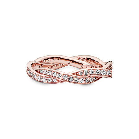 Twist of Fate Ring, PANDORA Rose™ & Clear CZ, PANDORA Rose, Cubic Zirconia - PANDORA - #180892CZ