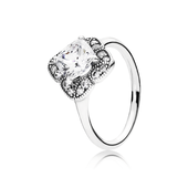 Crystalized Floral Fancy Ring, Clear CZ
