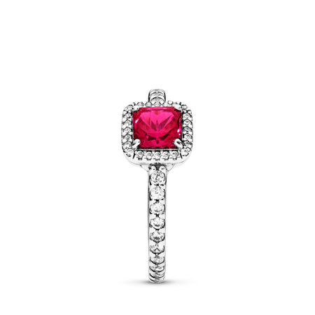 Timeless Elegance, Synthetic Ruby & Clear CZ, Sterling silver, Red, Mixed stones - PANDORA - #190947SRU