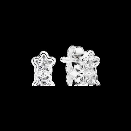 Starshine Stud Earrings, Clear CZ