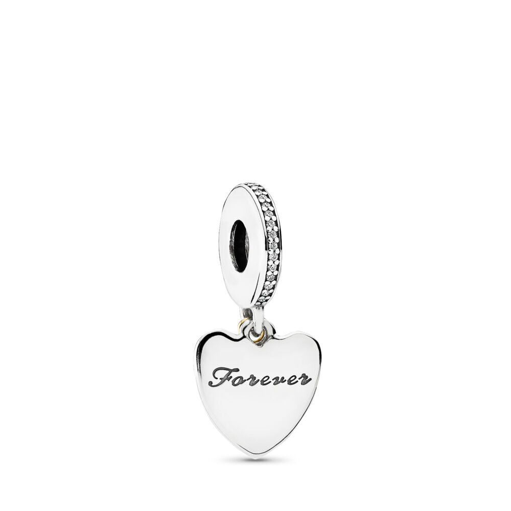 958b86fa7 Love You Forever Dangle Charm, Clear CZ, Two Tone, Cubic Zirconia - PANDORA