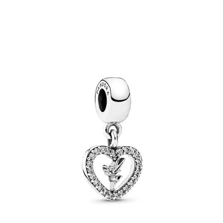 Disney, Love Tinker Bell Dangle Charm, Clear CZ, Sterling silver, Cubic Zirconia - PANDORA - #791565CZ