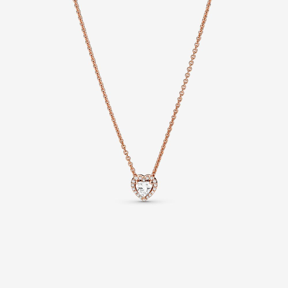 Sparkling Heart Collier Necklace | Rose gold plated | Pandora US