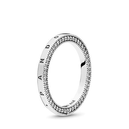 PANDORA Signature Hearts of PANDORA Ring, Clear CZ, Sterling silver, Cubic Zirconia - PANDORA - #197437CZ-52