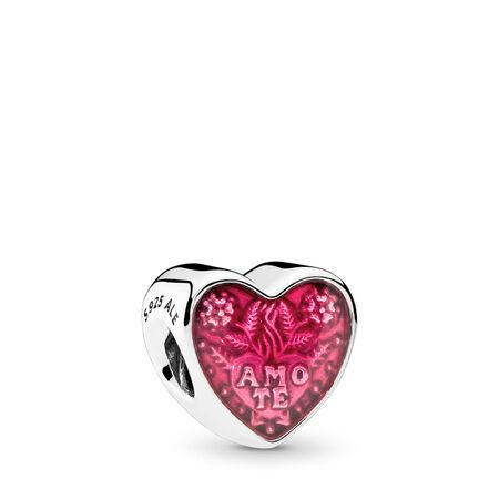 Latin Love Heart Charm, Transparent Cerise Enamel, Sterling silver, Enamel, Pink - PANDORA - #792048EN117