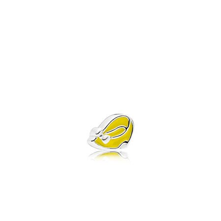Disney, Minnie Shoe Petite Locket Charm, Light Yellow Enamel