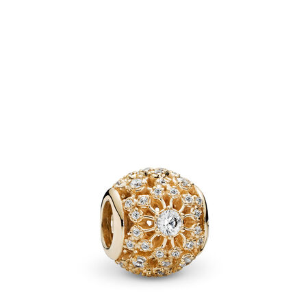 Inner Radiance Charm, Clear CZ & 14K Gold