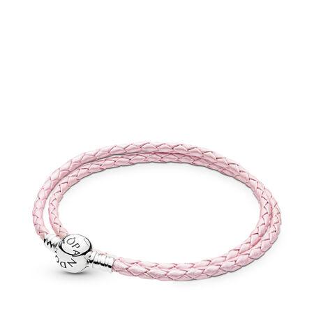 pink braided doubleleather charm bracelet