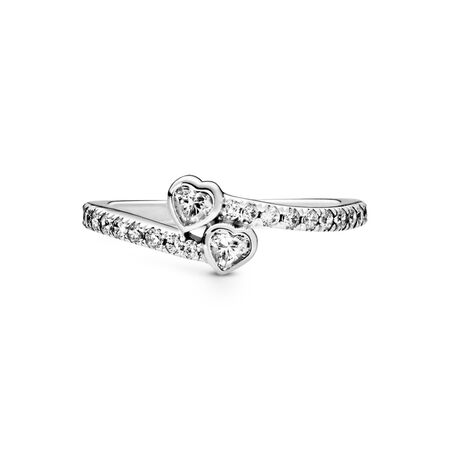 Two Sparkling Hearts Ring, Sterling silver, Cubic Zirconia - PANDORA - #191023CZ-54