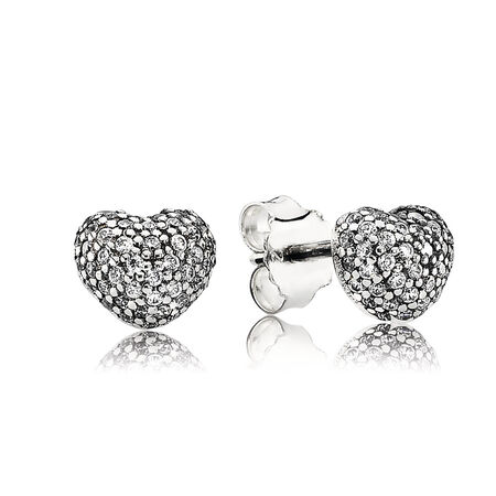 In My Heart Pavé Stud Earrings, Clear CZ, Sterling silver, Cubic Zirconia - PANDORA - #290541CZ