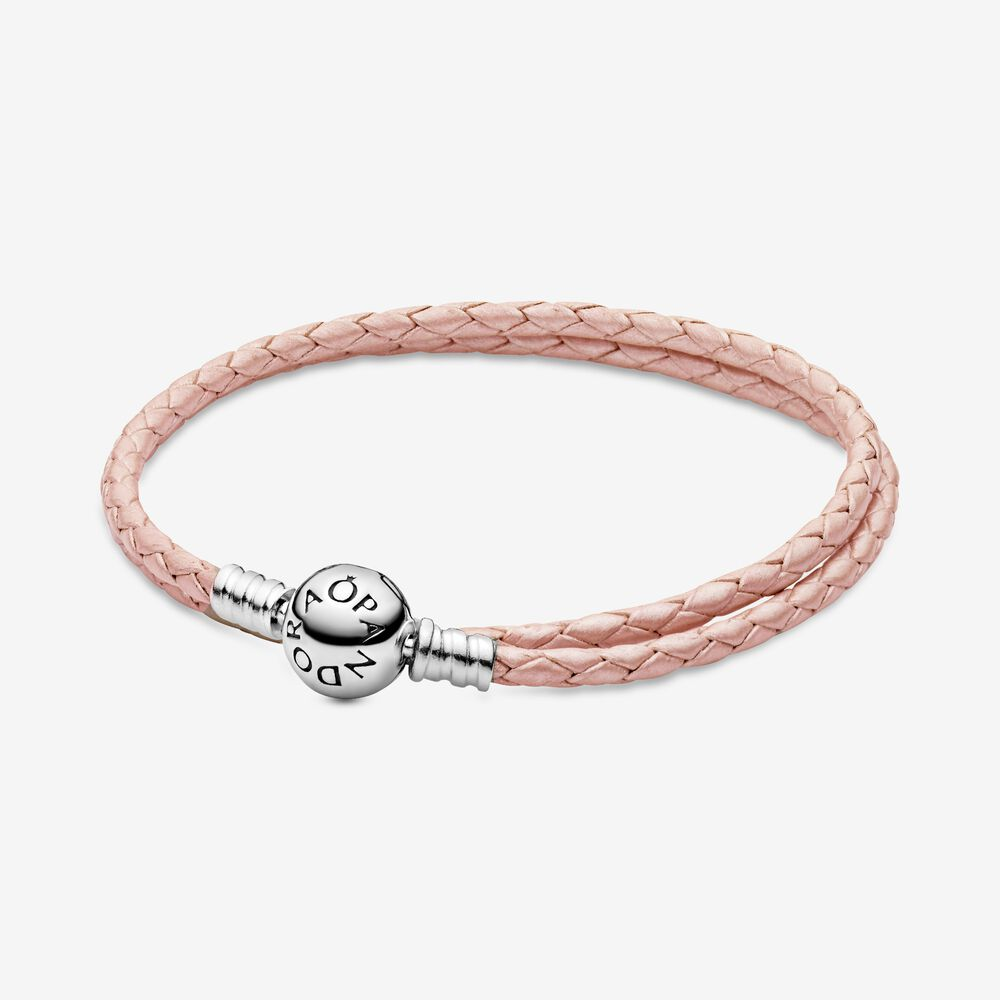 Pink Braided Double Leather Charm