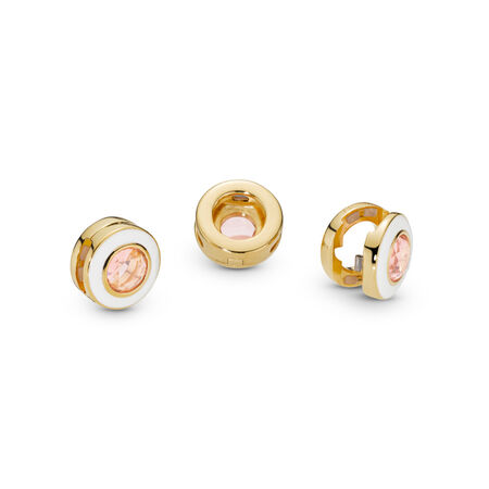 Pandora Reflexions™ Gleaming White Circle Clip Charm, 18ct Gold Plated, Enamel, Pink, Crystal - PANDORA - #767891NPO