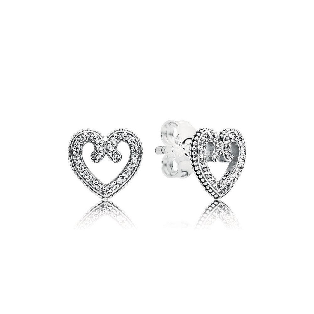 Pandora Earrings Heart: Heart Swirls Stud Earrings, Clear CZ
